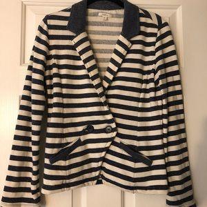 Navy-and-White Striped Blazer Medium Petite